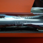 Long chrome silencer with strip suitable for Ducati wide case models 350cc