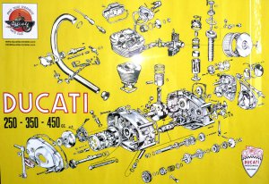 Poster engine - exploded DUCATI   250 - 350 - 450cc Measure: cm. 70 x 100