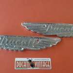 Pair of Ducati badges (wings) for Ducati Scrambler and Mark 3 tank in forged aluminium identical original