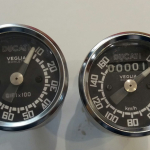 Speedometer and tachometer tools Ducati Veglia diam. 60mm Original instruments, new, reconverted with Ducati replica dial